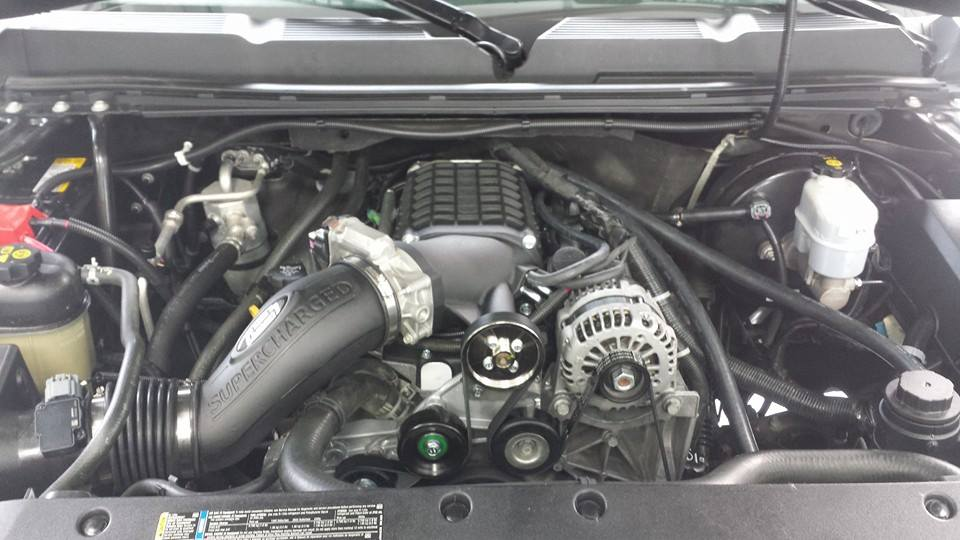 under the hood of a vehicle with Magnuson Supercharger System
